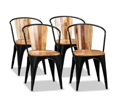 vidaXL Трапезни столове, 4 бр, акациево дърво масив