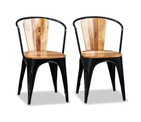 vidaXL Sillas de comedor de madera maciza de acacia 4 unidades[3/10]