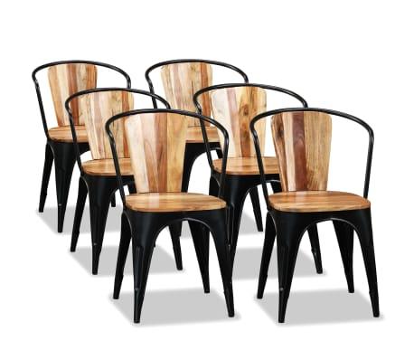 Details zu vidaXL Akazienholz Massiv 6x Esszimmerstuhl Essstuhl Küchenstuhl Stuhl Stühle
