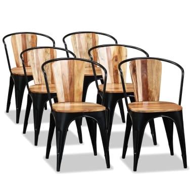 vidaXL Sillas de comedor de madera maciza de acacia 6 unidades[1/10]