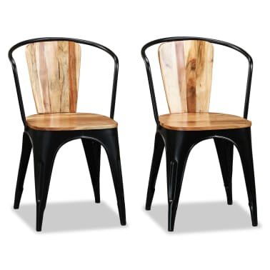 vidaXL Sillas de comedor de madera maciza de acacia 6 unidades[2/10]