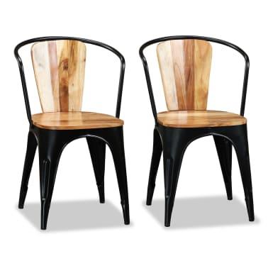 vidaXL Sillas de comedor de madera maciza de acacia 6 unidades[3/10]