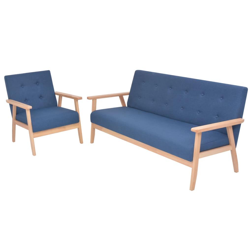 vidaXL 2dílná sedací souprava, modré čalounění (244654+244656)