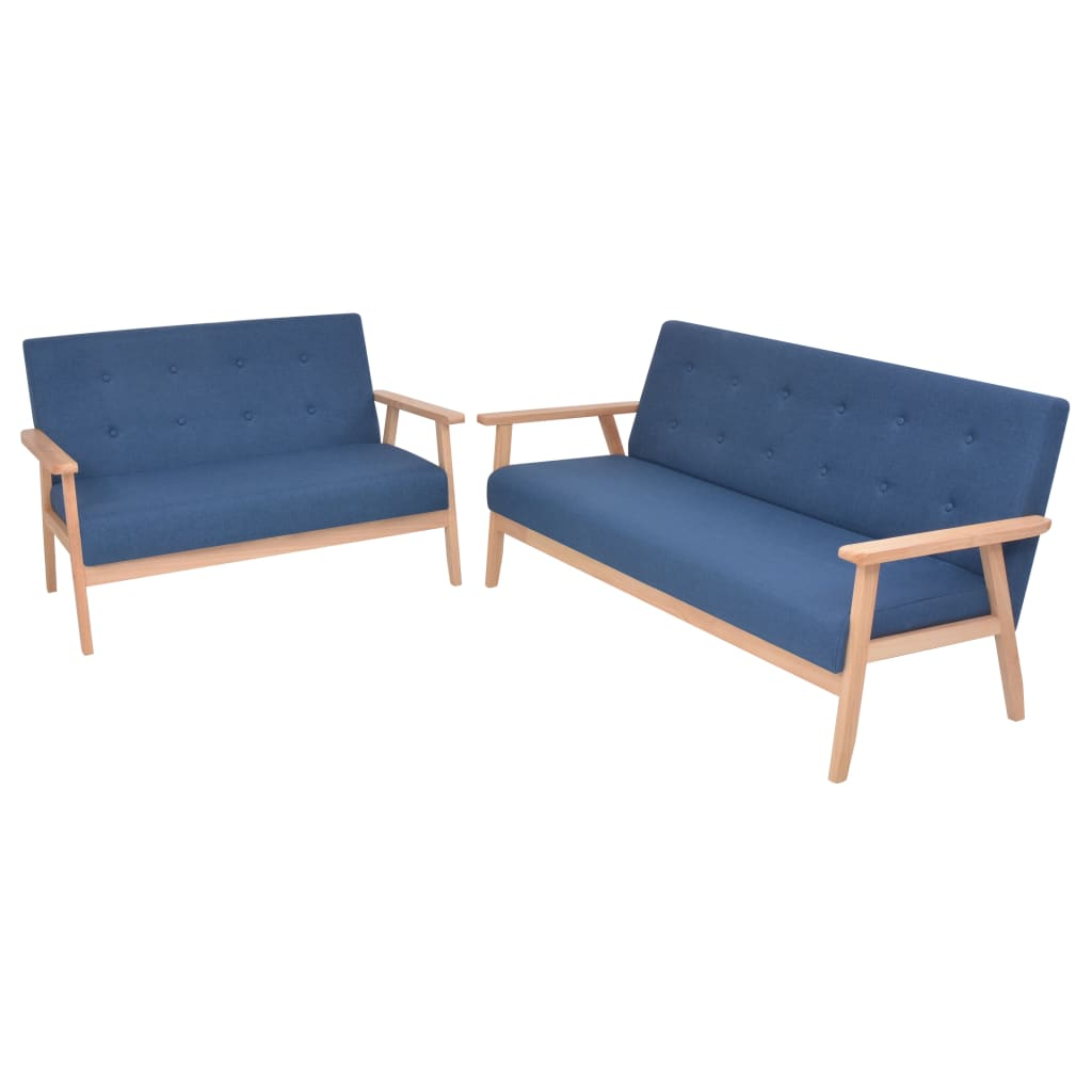 vidaXL Set cu canapele, 2 piese, material textil, albastru poza 2021 vidaXL