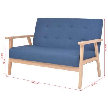 vidaXL Zestaw wypoczynkowy, 2 szt., tkanina, niebieski[10/10]
