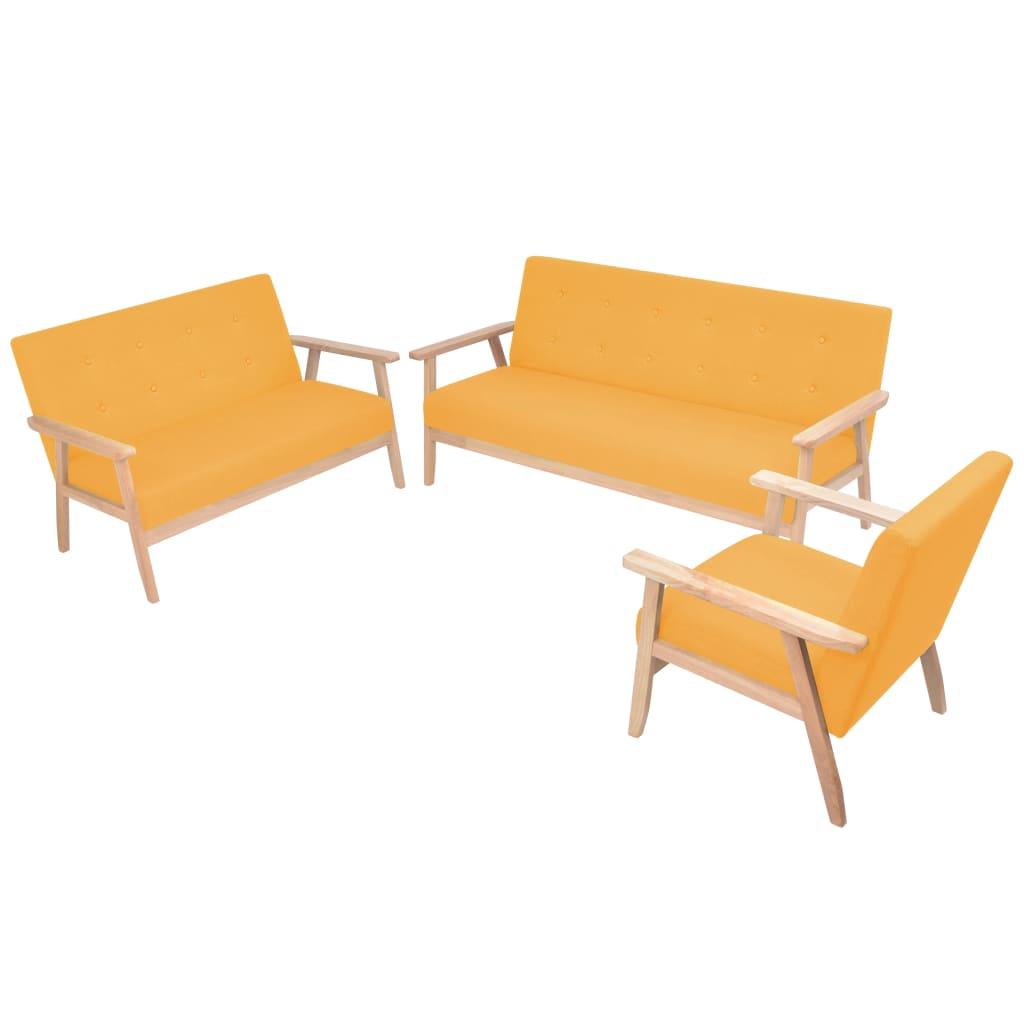 vidaXL Set canapea din 3 piese, material textil, galben poza 2021 vidaXL