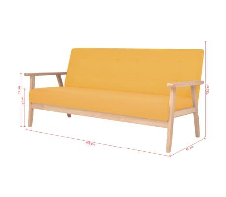 vidaXL Sofos komplektas, 3 dalių, audinys, geltonos spalvos[11/13]