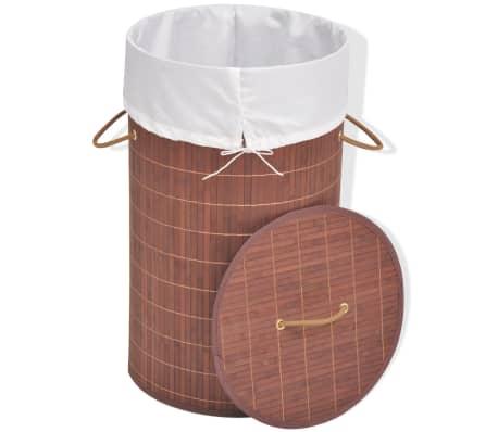 vidaXL Cesto de la ropa de bambú redondo marrón[2/6]