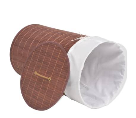 vidaXL Cesto de la ropa de bambú redondo marrón[3/6]