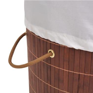 vidaXL Cesto de la ropa de bambú redondo marrón[4/6]