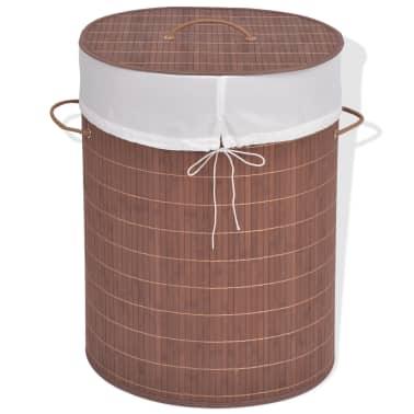 vidaXL Cesto de la ropa de bambú ovalado marrón[1/6]