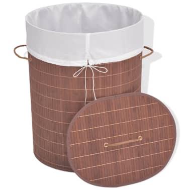 vidaXL Cesto de la ropa de bambú ovalado marrón[2/6]