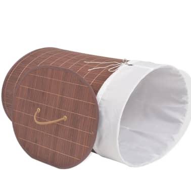 vidaXL Cesto de la ropa de bambú ovalado marrón[3/6]