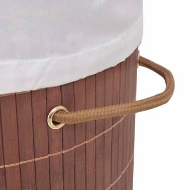 vidaXL Cesto de la ropa de bambú ovalado marrón[4/6]