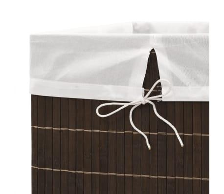 vidaXL Cesto de la ropa de bambú rectangular marrón oscuro[6/6]