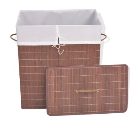 vidaXL Cesto de la ropa de bambú rectangular marrón[2/6]