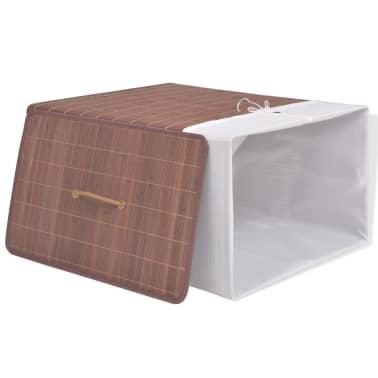 vidaXL Cesto de la ropa de bambú rectangular marrón[3/6]