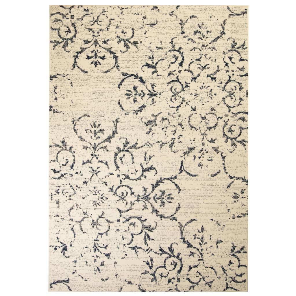 Moderní koberec s květinovým vzorem 80 x 150 cm béžovo-modrý