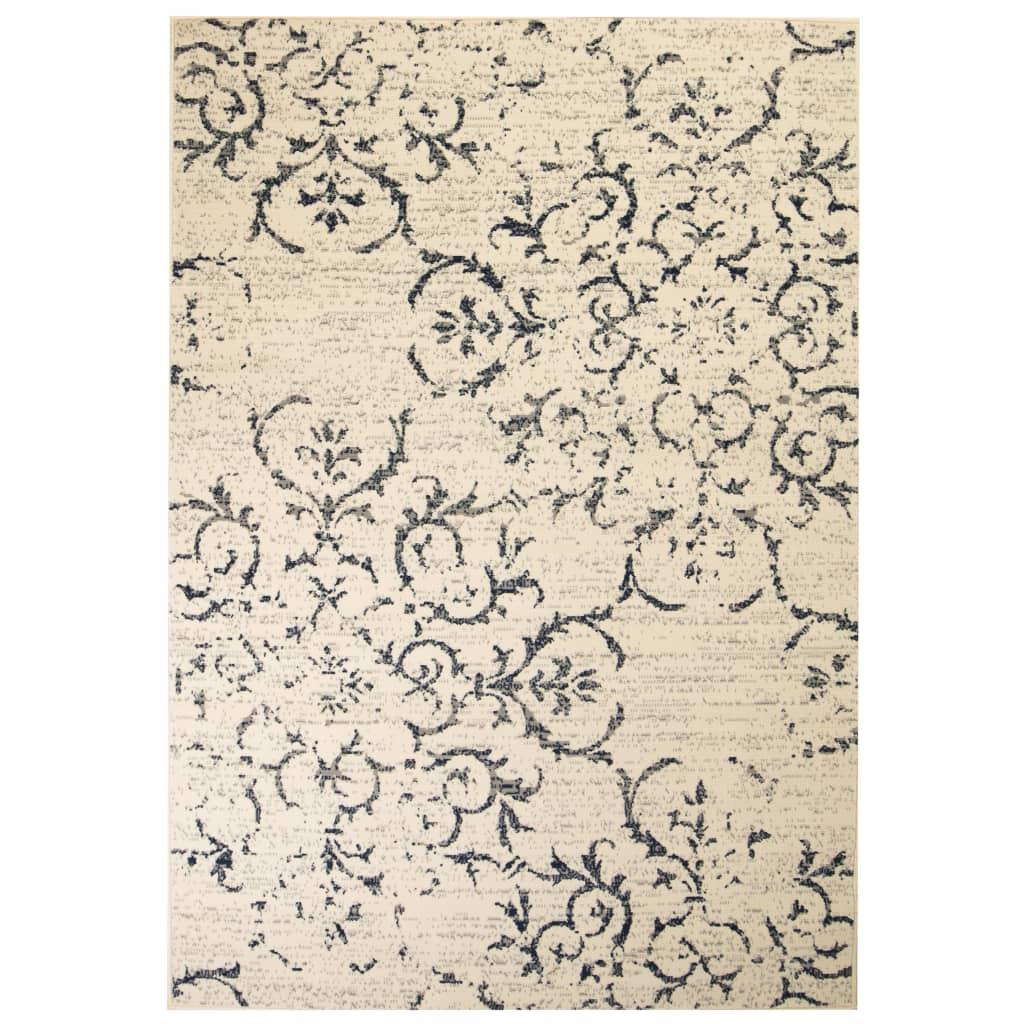 Moodne lilledisainiga vaip 140 x 200 cm beež/sinine