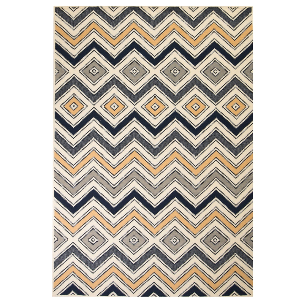 Moderní koberec se zigzag vzorem 80 x 150 cm hnědo-černo-modrý
