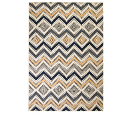 vidaXL Vloerkleed modern zigzag ontwerp 80x150 cm bruin/zwart/blauw