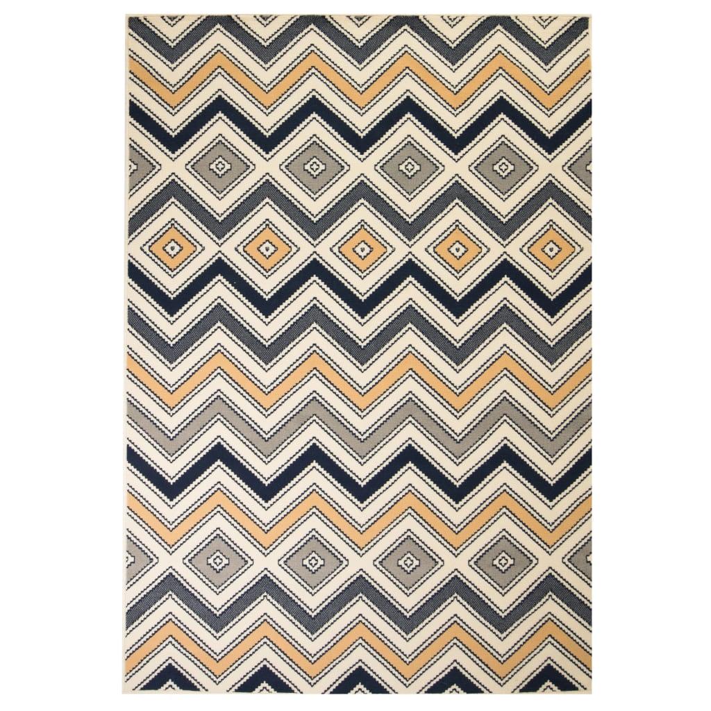 999133015 Teppich Modern Zickzack-Design 160 x 230 cm Braun/Schwarz/Blau