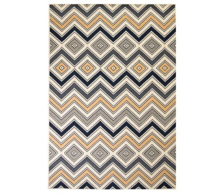 vidaXL Vloerkleed modern zigzag ontwerp 160x230 cm bruin/zwart/blauw