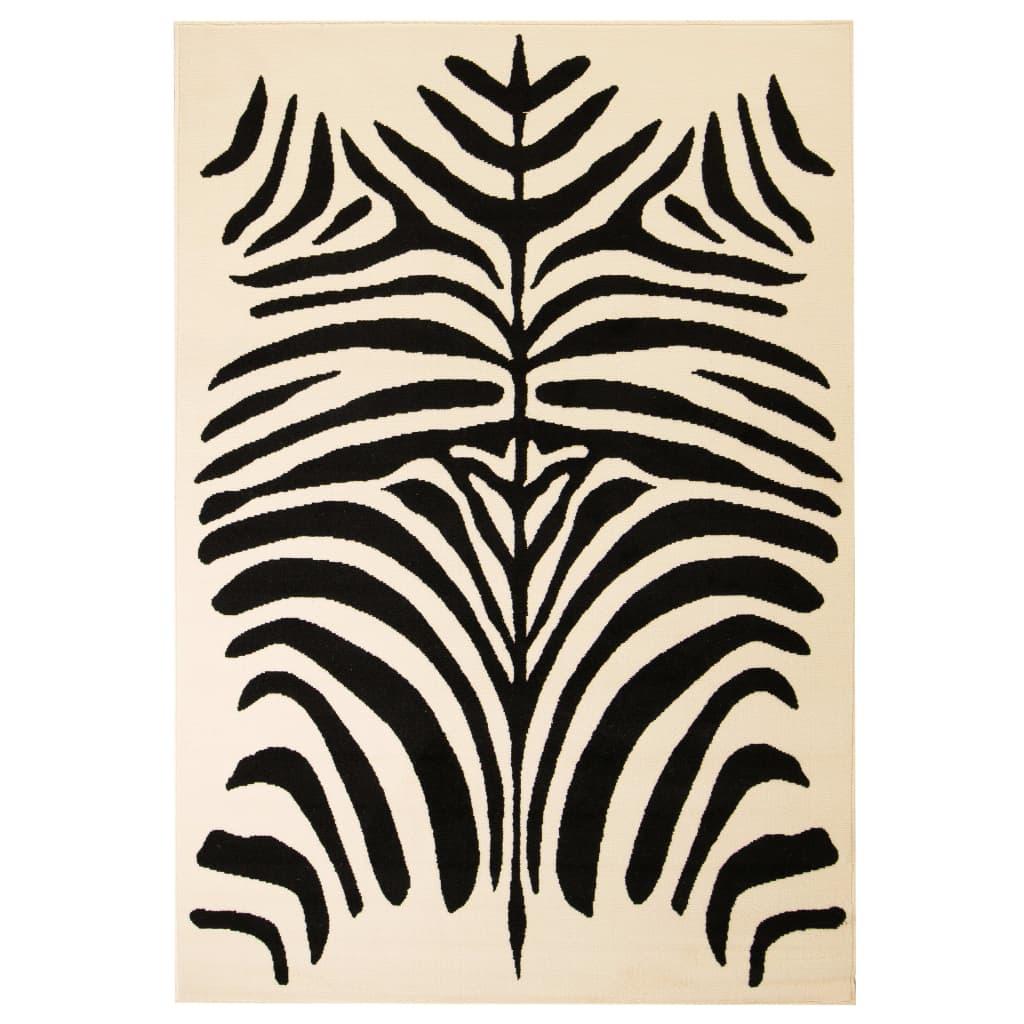 VidaXL-Tappeto-Moderno-con-Motivo-a-Zebra-80x150-cm-Beige-Nero-Arredo