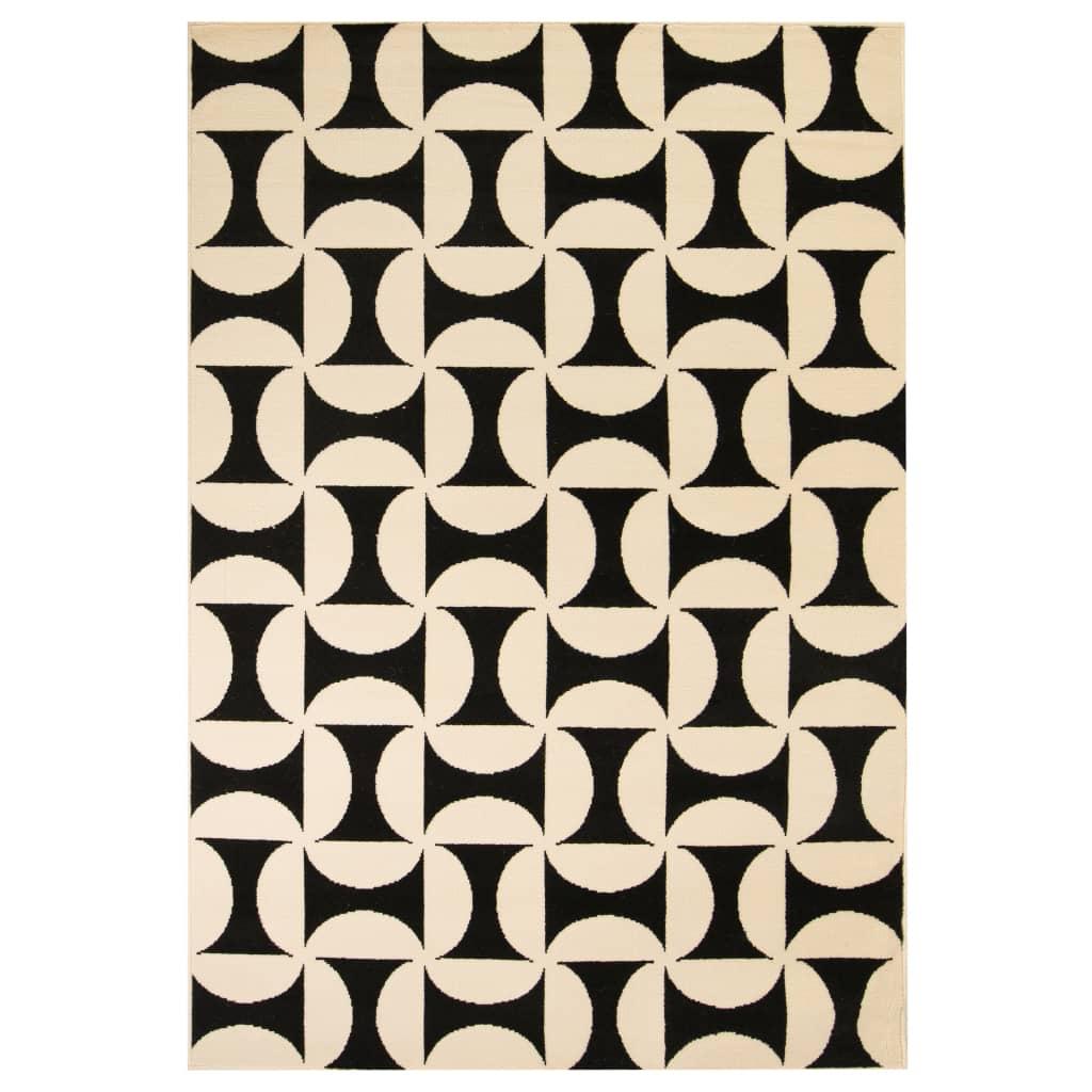 999133032 Teppich Modern Geometrisches Muster 80 x 150 cm Beige/Schwarz