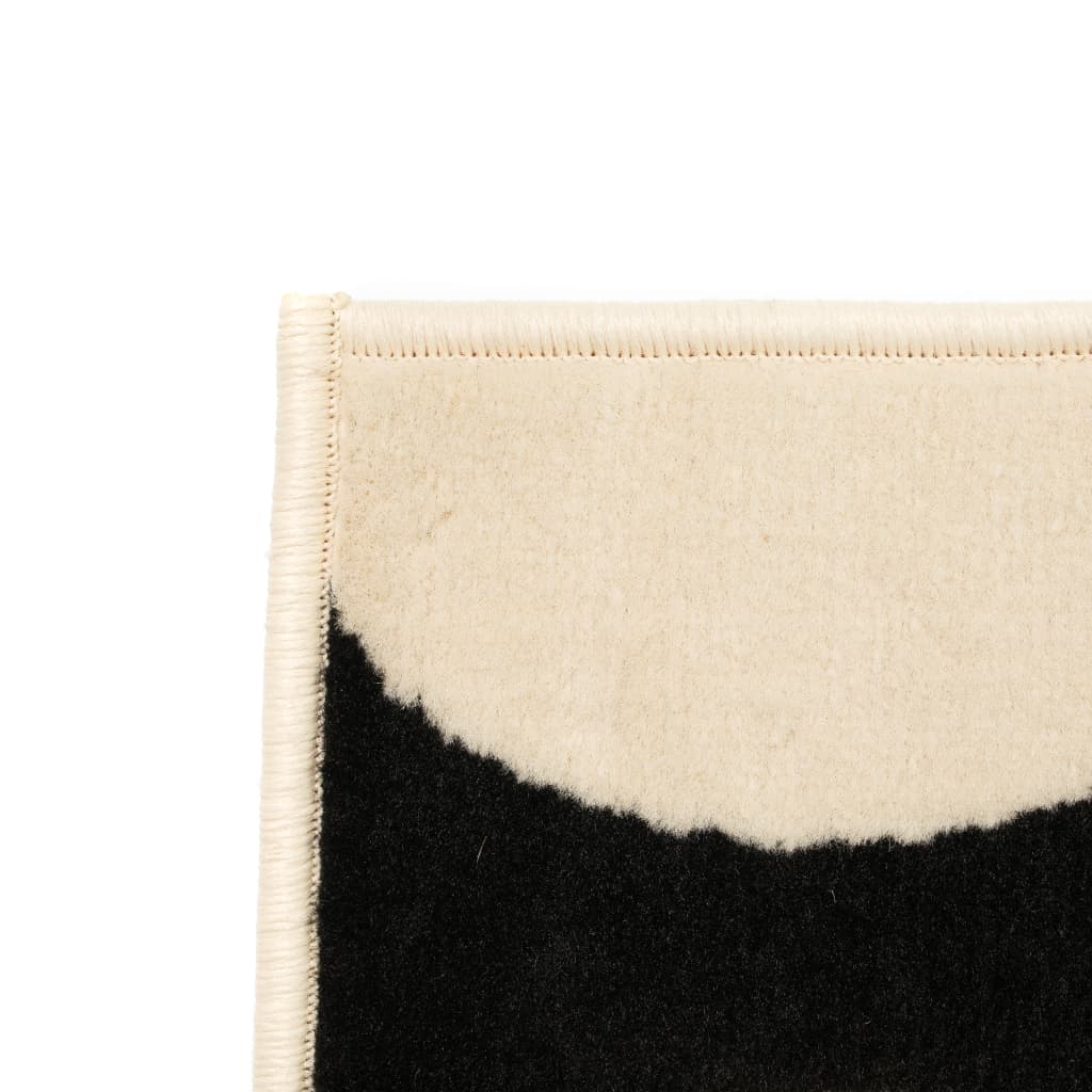 vidaXL Vloerkleed modern geometrisch ontwerp 80x150 cm beige/zwart