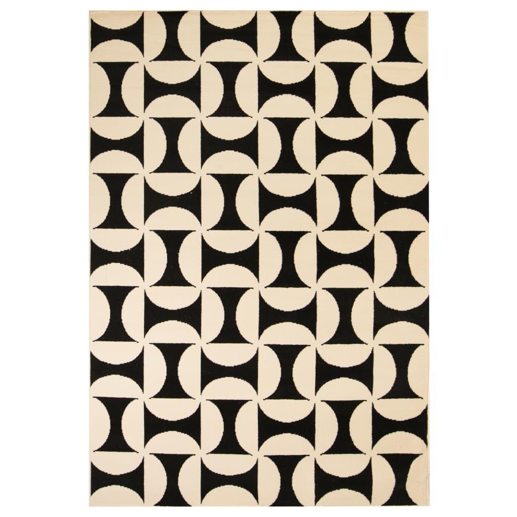 vidaXL Teppich Modern Geometrisches Muster 120 x 170 cm Beige/Schwarz