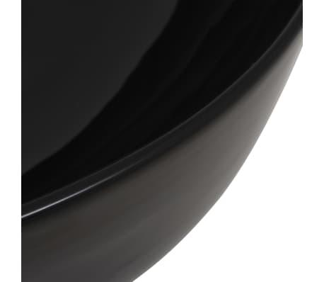 vidaXL Waschbecken Keramik Rund Schwarz 41,5 x 13,5 cm[4/5]