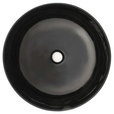 vidaXL Waschbecken Keramik Rund Schwarz 41,5 x 13,5 cm[3/5]