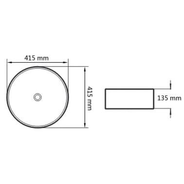 vidaXL Waschbecken Keramik Rund Schwarz 41,5 x 13,5 cm[5/5]