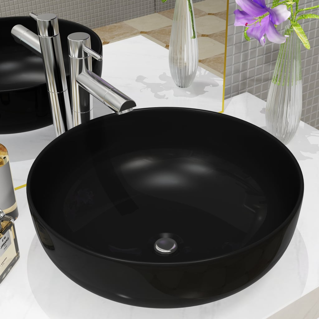 Keramické umyvadlo kulaté černé 41,5 x 13,5 cm