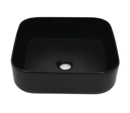 vidaXL Lavabo cuadrado de cerámica negro 38x38x13,5 cm[3/5]