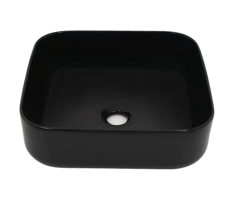 vidaXL Handfat keramik fyrkantig svart 38x38x13,5 cm[3/5]