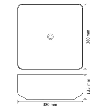 vidaXL Lavabo cuadrado de cerámica negro 38x38x13,5 cm[5/5]