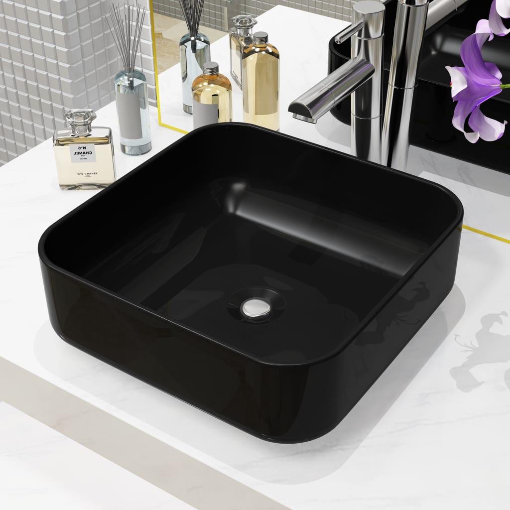 Keramické umyvadlo čtvercové černé 38 x 38 x 13,5 cm
