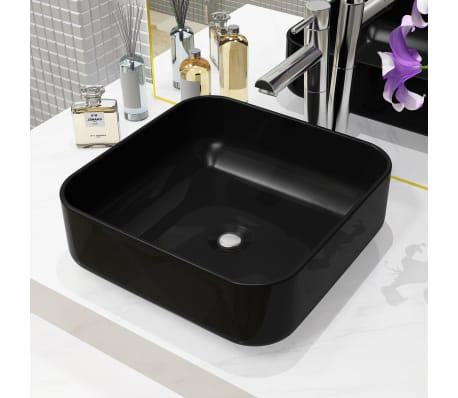vidaXL Lavabo cuadrado de cerámica negro 38x38x13,5 cm[1/5]