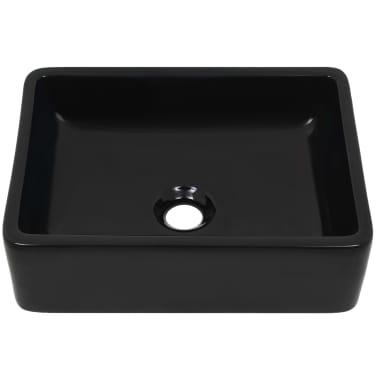 vidaXL Handfat keramik rektangulär svart 41x30x12 cm[3/6]