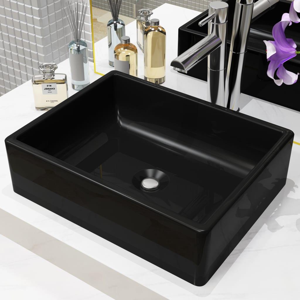 Keramické umyvadlo obdélníkové černé 41 x 30 x 12 cm