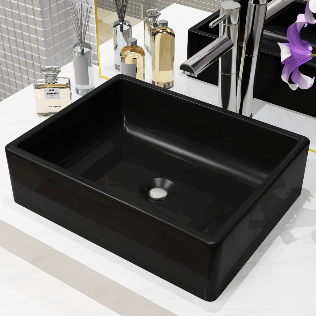 vidaXL Bazin chiuvetă ceramic, dreptunghiular, negru, 41 x 30 x 12 cm vidaxl.ro