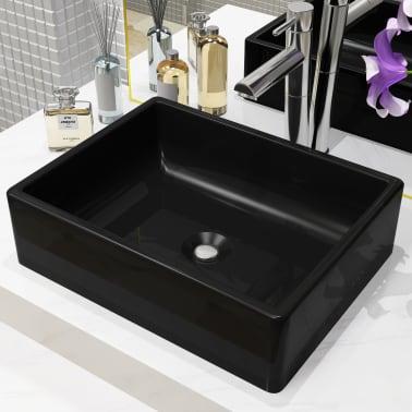 vidaXL Handfat keramik rektangulär svart 41x30x12 cm[1/6]