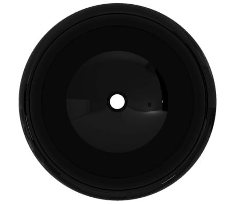 vidaXL Lavabo redondo de cerámica negro 40x15 cm[3/5]