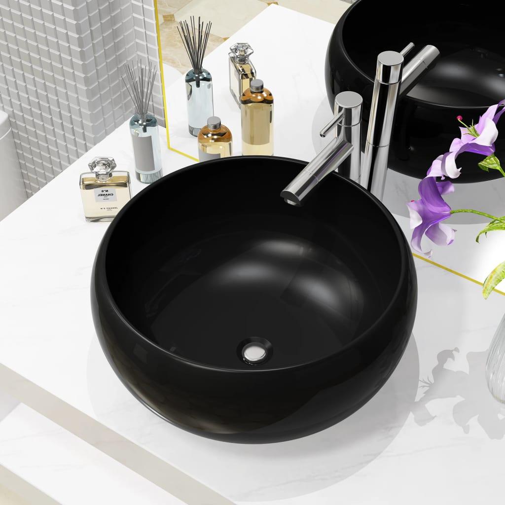 vidaXL Chiuvetă de baie rotundă, negru, 40 x 15 cm, ceramică vidaxl.ro