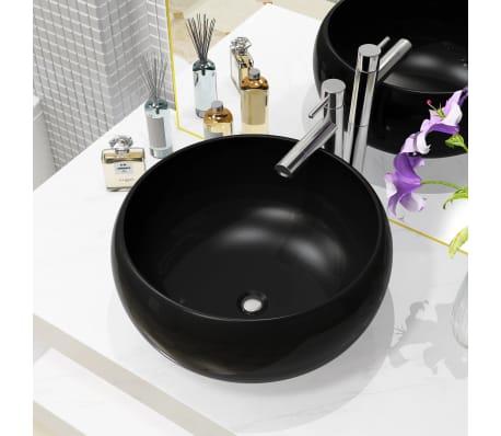 vidaXL Lavabo redondo de cerámica negro 40x15 cm[1/5]