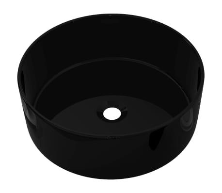 vidaXL Handfat keramik rund svart 40x15 cm[2/5]