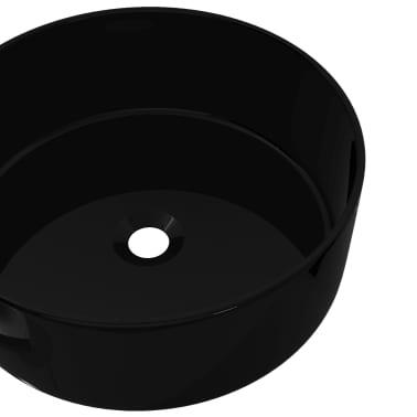 vidaXL Handfat keramik rund svart 40x15 cm[4/5]