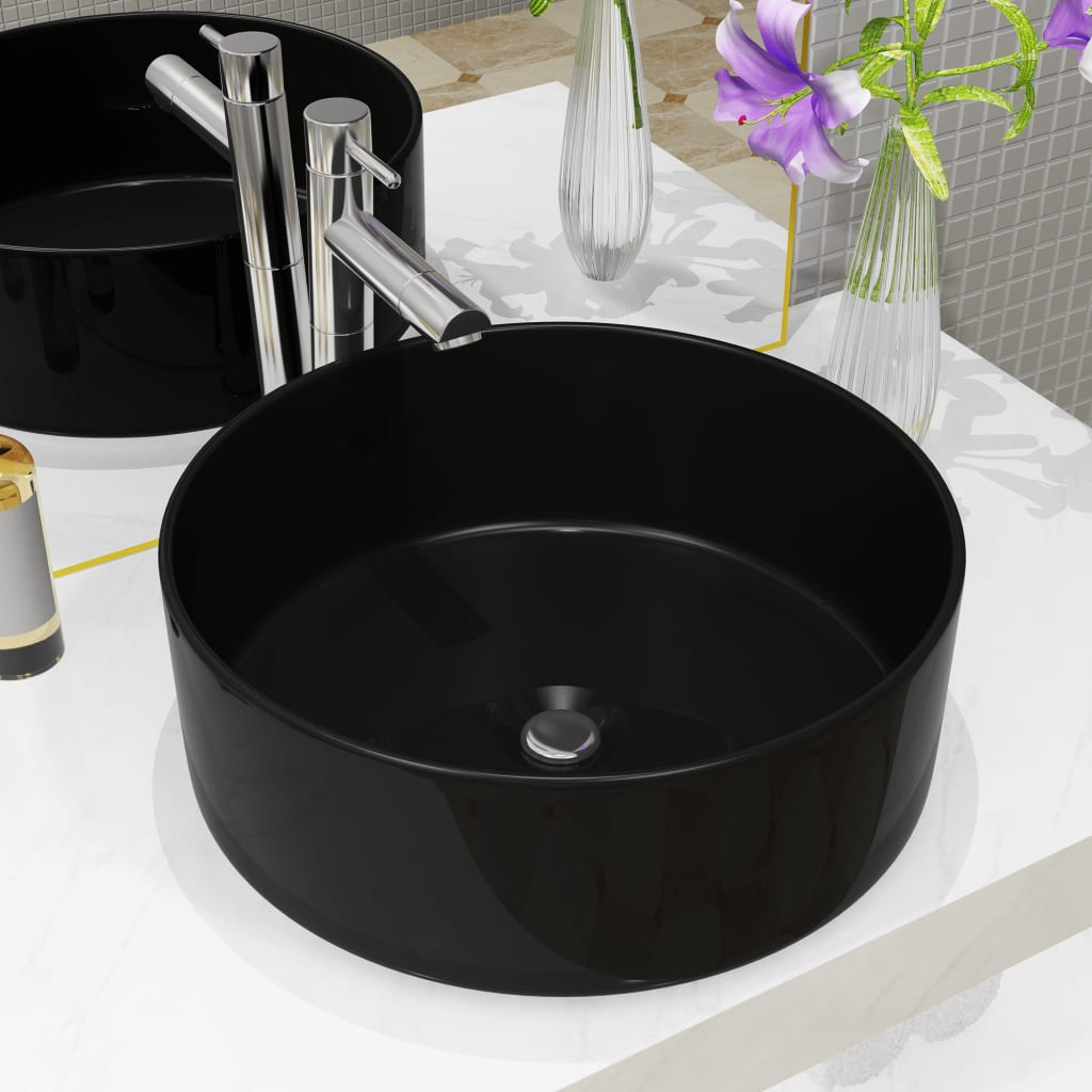Keramické umyvadlo kulaté černé 40 x 15 cm